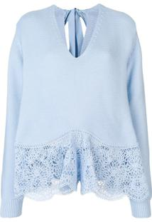 Stella Mccartney Suéter De Crochê Com Renda - Azul