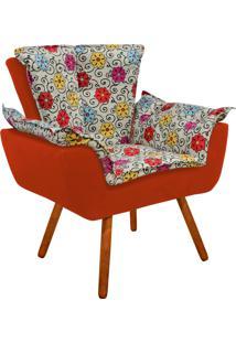 Poltrona Decorativa Opala Suede Composê Estampado Floral Color D17 E Suede Laranja - D'Rossi