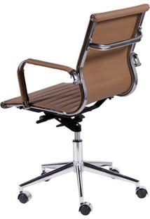 Cadeira Office Eames Diretor Com Braço, Rodízio E Sistema Relax Caramelo