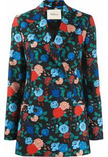 Mulberry Blazer Com Abotoamento Duplo E Estampa Floral - Preto