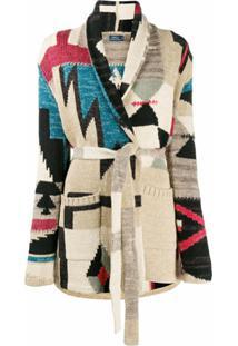Polo Ralph Lauren Cardigan Com Amarração E Estampa Geométrica - Vermelho