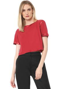 Camiseta Cropped Lança Perfume Detalhe Metalizado Vermelha