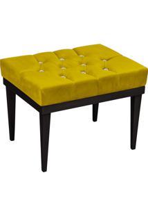 Puff Decorativo Londres Retangular Suede Amarelo Com Strass - D'Rossi
