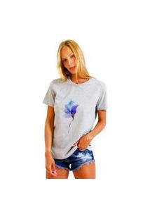 Camiseta Basica Joss Rose Neon Cinza Mescla