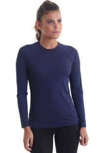 Camiseta Manga Longa Uv50+ Nossas Cores Azul Marinho Praaiah