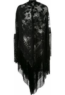 Dolce & Gabbana Xale Com Franjas - Preto