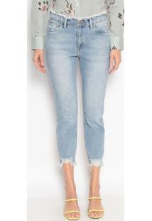 Jeans Reto Com Destroyed - Azul Clarodudalina