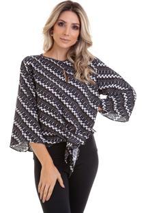 Blusa Kinara Estampada Com Amarração Preta
