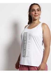 Regata Nadador Texturizada Com Inscrição - Branca & Cinzphysical Fitness