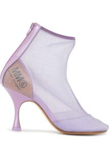 Mm6 Maison Margiela Ankle Boot Com Mesh - Roxo