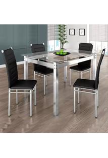 Conjunto Mesa De Jantar Retangular 1.20M E 4 Cadeiras Tokio Pretas