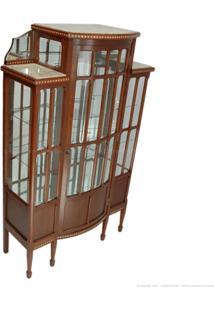 Cristaleira 1 Porta Com Vidro E Espelho Capelão 100% Madeira Maciça E Tampo De Mármore Castanho - Antonio E Filhos