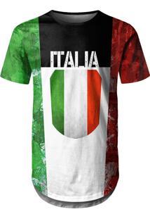 Camiseta Longline Over Fame Itália Multicolorido