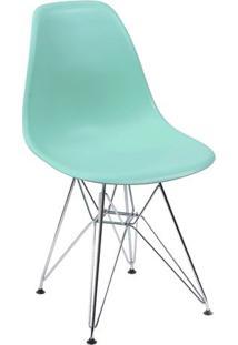 Cadeira Eames Dkr- Verde Água & Prateada- 80,5X46,5Xor Design