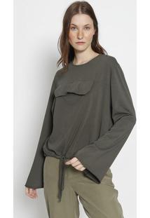 Blusa Com Bolso - Verde Escuroosklen