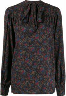 Polo Ralph Lauren Blusa Floral Com Laço Na Gola - Azul