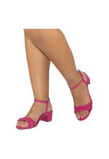 Sandalia Feminina Amorelle Salto Baixo Grosso Quadrado Pink 11