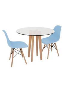Conjunto Mesa De Jantar Em Vidro 90Cm Com Base Vértice + 2 Cadeiras Eiffel - Azul Claro