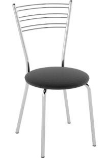 Kit C/ 2 Cadeiras Assento Nobuck Preto Pozza