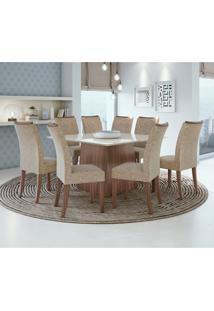 Conjunto De Mesa De Jantar Nevada Com 8 Cadeiras Atacama L Velvet Off White E Bege