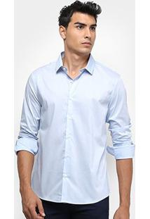 Camisa Social Calvin Klein Slim Monte Carlo Toque Suave Masculina - Masculino-Azul Claro