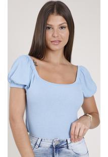Blusa Feminina Canelada Manga Bufante Decote Reto Azul Claro