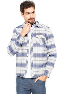 Camisa Gangster Reta Cinza/Azul