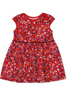 Vestido Floral - Vermelho & Azul Marinho- Bitokinhabitokinha