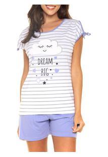 Pijama Curto Listrado Desayner (11645) 100% Algodão