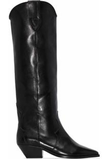Isabel Marant Bota Over-The-Knee Denvee De Couro Com Salto 40Mm - Preto