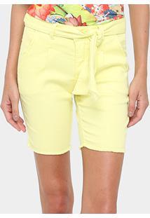 Bermuda Gup'S Jeans Meia Coxa Com Cinto Feminina - Feminino-Amarelo