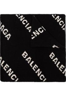 Balenciaga Cachecol Com Logo - Preto