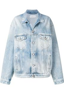 Balenciaga Jaqueta Jeans Com Estampa - Azul