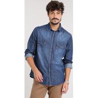 e3dd450ae5ae9 Camisa Jeans Masculina Com Bolsos Manga Longa Azul Escuro