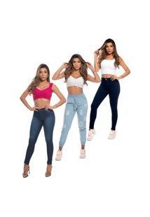 Calça Feminina Jogger Jeans Destroyed Cintura Alta E Calça Skinny Modelagem Perfeita Cos Alto Azul