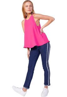 Calça Jeans Skinny Listra Contraste