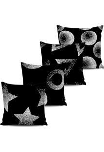 Kit 4 Capas Almofadas Abstrata Preta E Branca 45X45Cm - Multicolorido - Dafiti