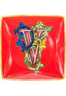 Versace Home Tigela Holiday Alphabet 'V' - Vermelho