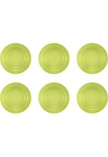 Jogo 6 Pratos Fundos Donna Verde 21Cm Biona