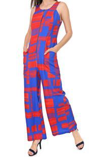Macacão Morena Rosa Pantalona Estampado Azul/Vermelho