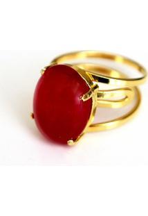 Anel Ajustável Pedra Jaspe Vermelha Twik