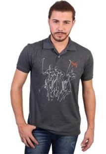 Camisa Polo England Polo Club Estampada - Masculino-Chumbo