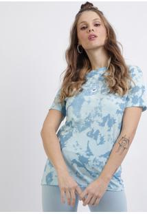 Blusa Feminina Ursinhos Carinhosos Tie Dye Manga Curta Decote Redondo Azul