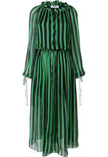 Msgm Vestido Listrado De Seda - Verde