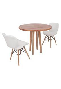 Conjunto Mesa De Jantar Em Madeira 90Cm Com Base Vértice + 2 Cadeiras Slim - Branco