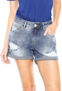 Bermuda Jeans Lez A Lez Estonado Azul