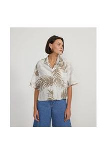 Camisa Manga Curta Estampa De Folhagens | Marfinno | Bege | P