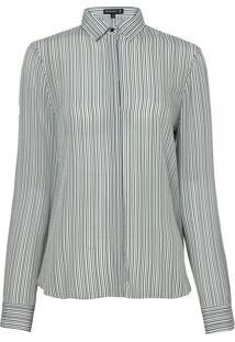 Camisa Dudalina Manga Longa Seda Estampa Listrada Feminina (Estampado Listras, 42)