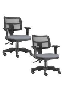 Kit 02 Cadeiras Giratórias Lyam Decor Zip Corino Cinza
