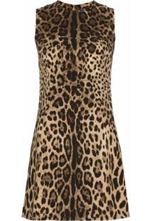 Dolce & Gabbana Vestido Com Estampa Leopardo - Marrom